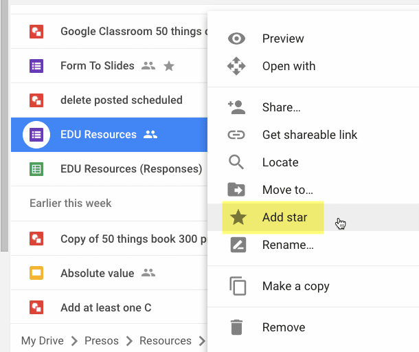 add star to a file in Google Drive