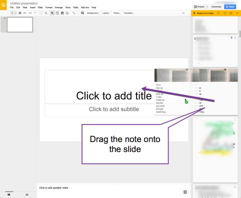 Drag Google Keep note into Slides