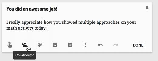 Google Keep add collaborator