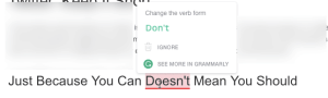Grammarly Gave me a bad suggestion