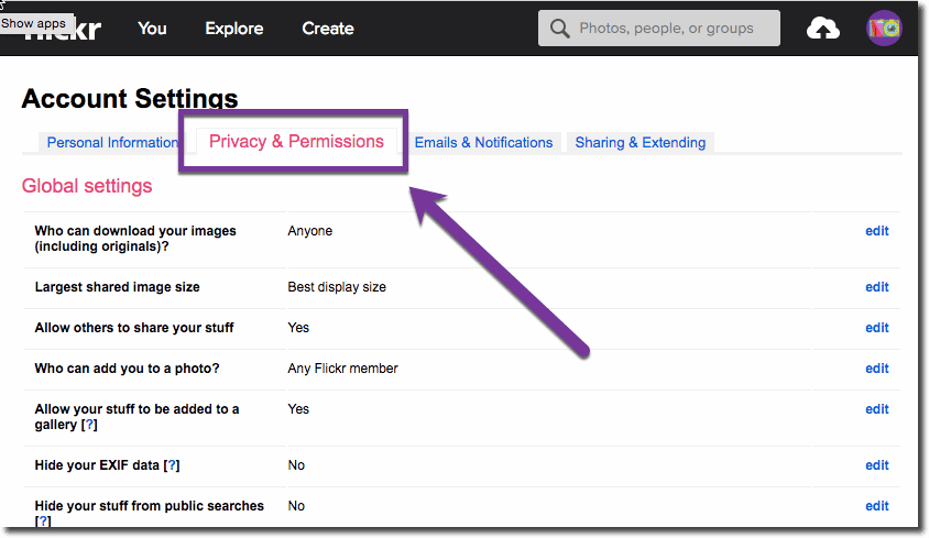 Privacy and Permissions Tab