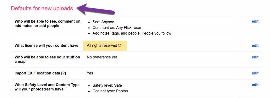 default for new uploads
