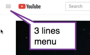 3 lines menu in YouTube
