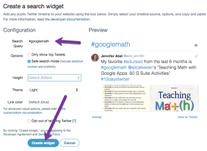 Search hashtag and create widget