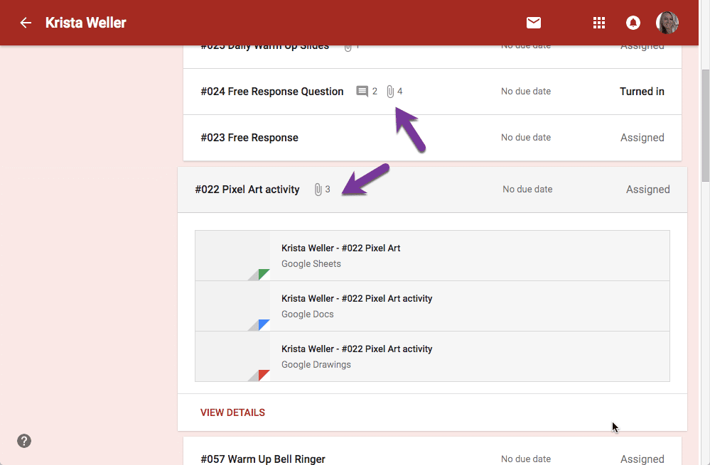 multiple attachments in Google Classroom