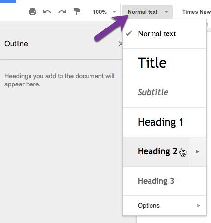 Change the headings