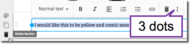 3 dots when editing text in Google Sites