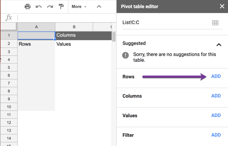 Add Rows to the Pivot table editor