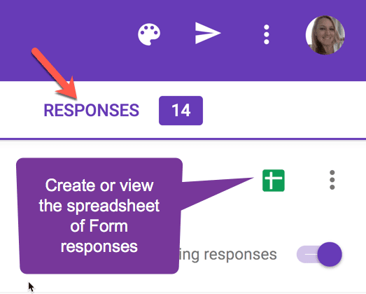 Click on responses and choose the green spreadsheet icon