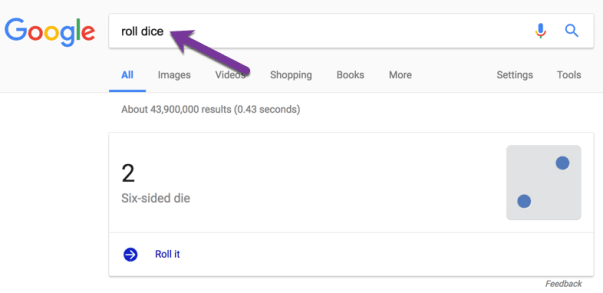 Roll Six sided die in Google Search