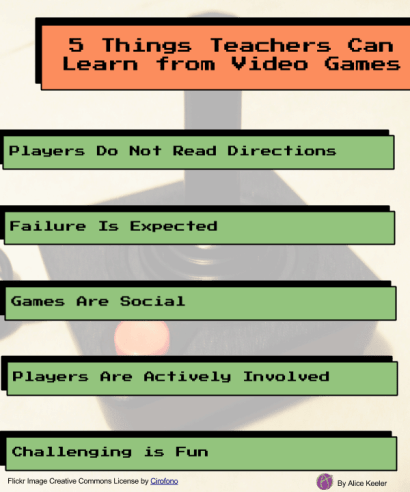 5 Things teacher can learn from video games by Alice Keeler