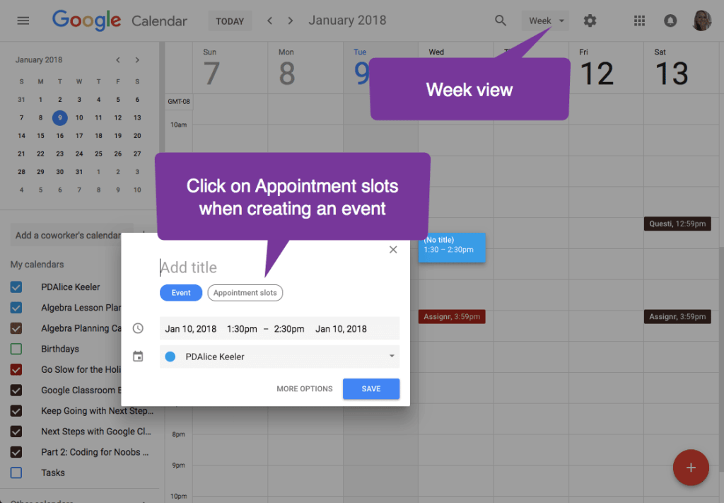 week view create an appointment slot