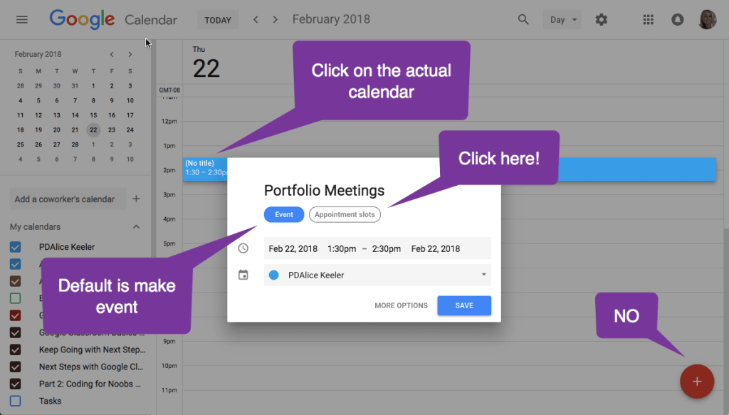 Create appointment slots by clicking on the calendar in day view
