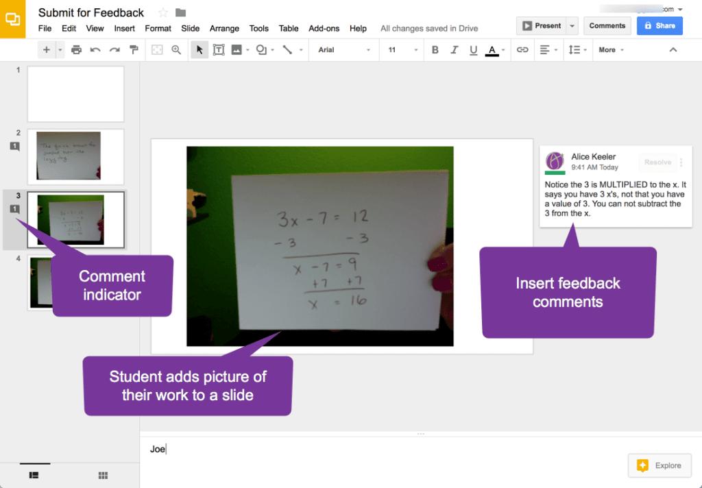 Use a quarter sheet of paper in Google Slides