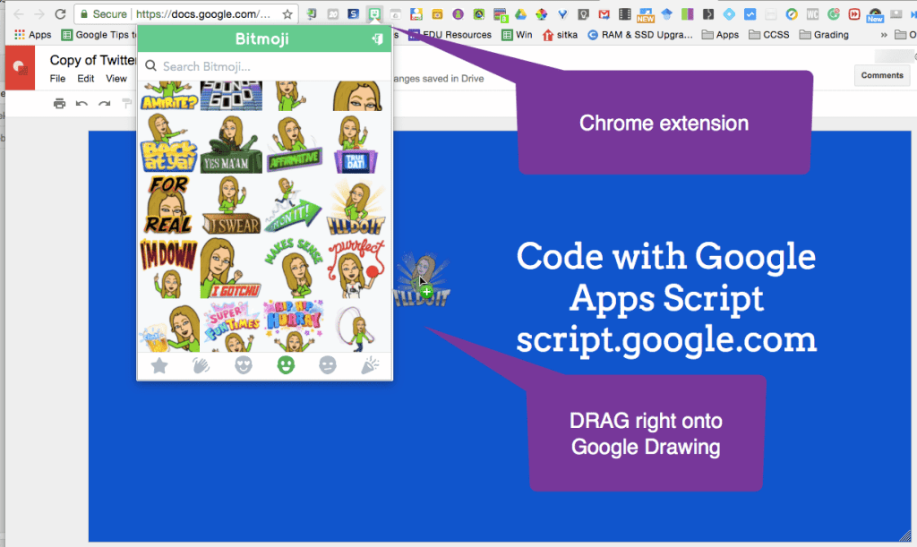 Add bitmoji to the Google Drawing