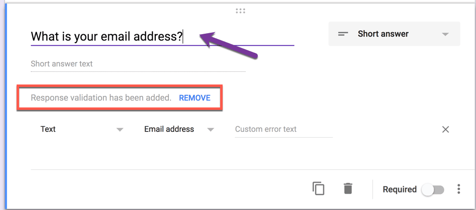response validation google forms
