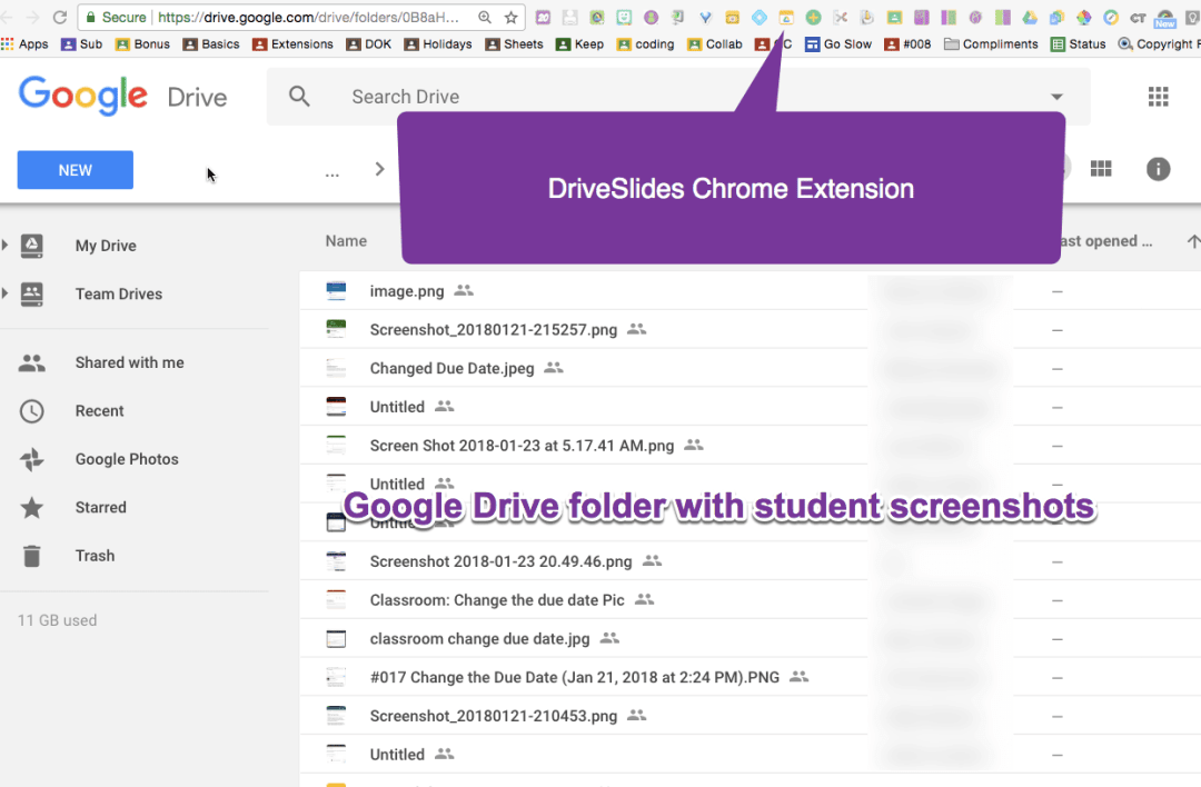 Google Drive folder and chrome extension