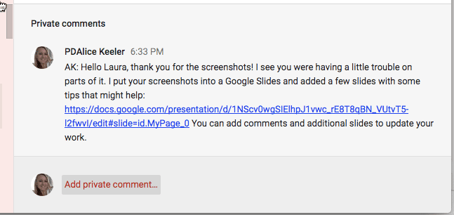 Paste link to Google Slides in the private comments