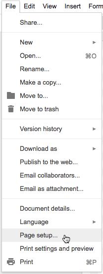 File page setup