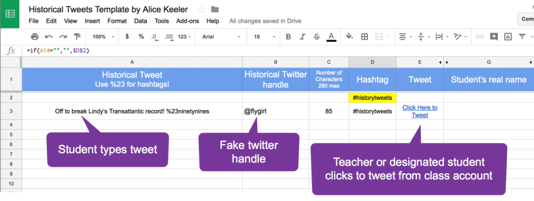 Collaborative spreadsheet to tweet historical tweets