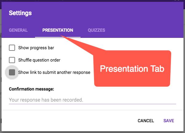Presentation Tab