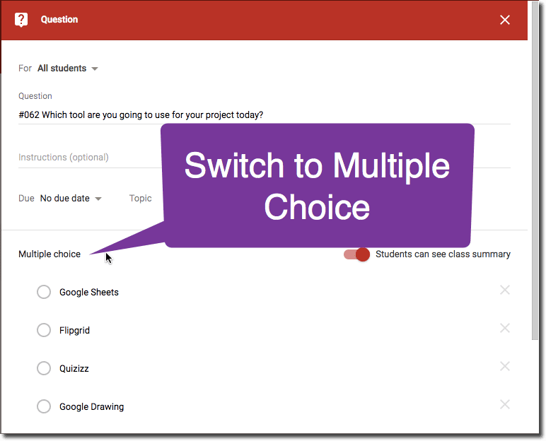 Switch to Multiple Choice