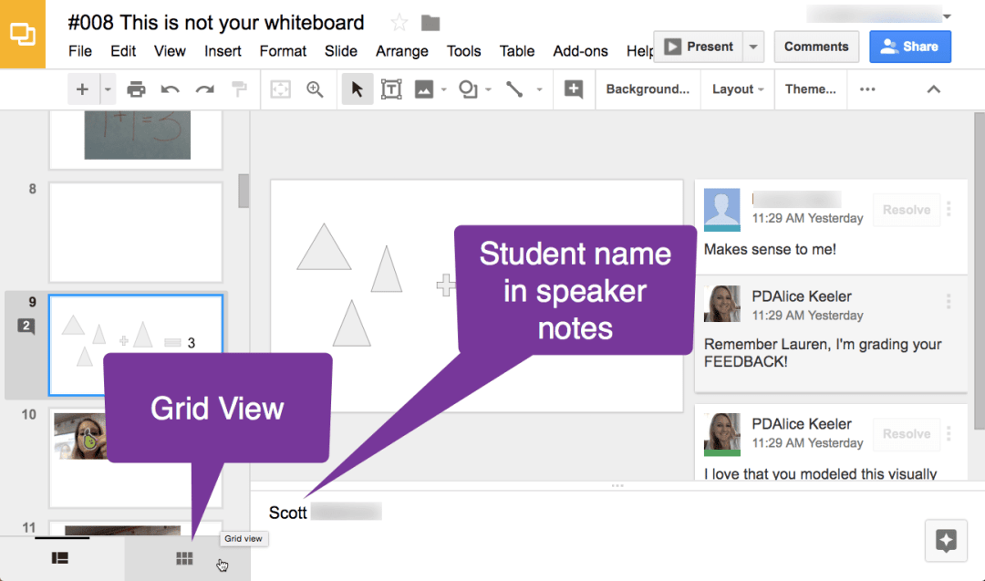 Grid view in Google Slides