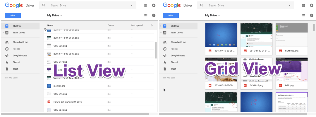 List view and grid view