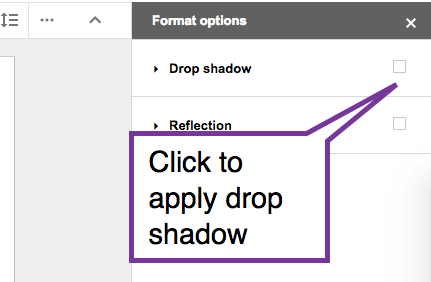Click to apply drop shadow