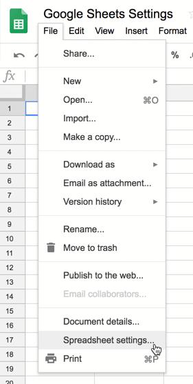 Spreadsheet Settings