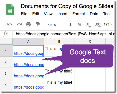 Link to the Google Docs in the spreadsheet