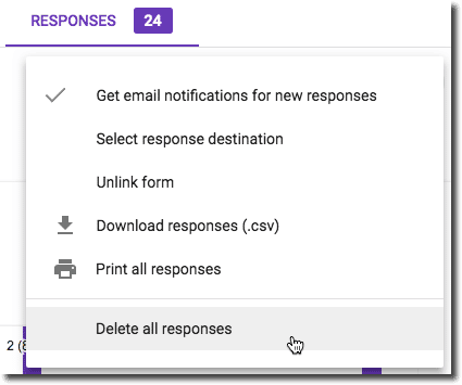 Delete all responses