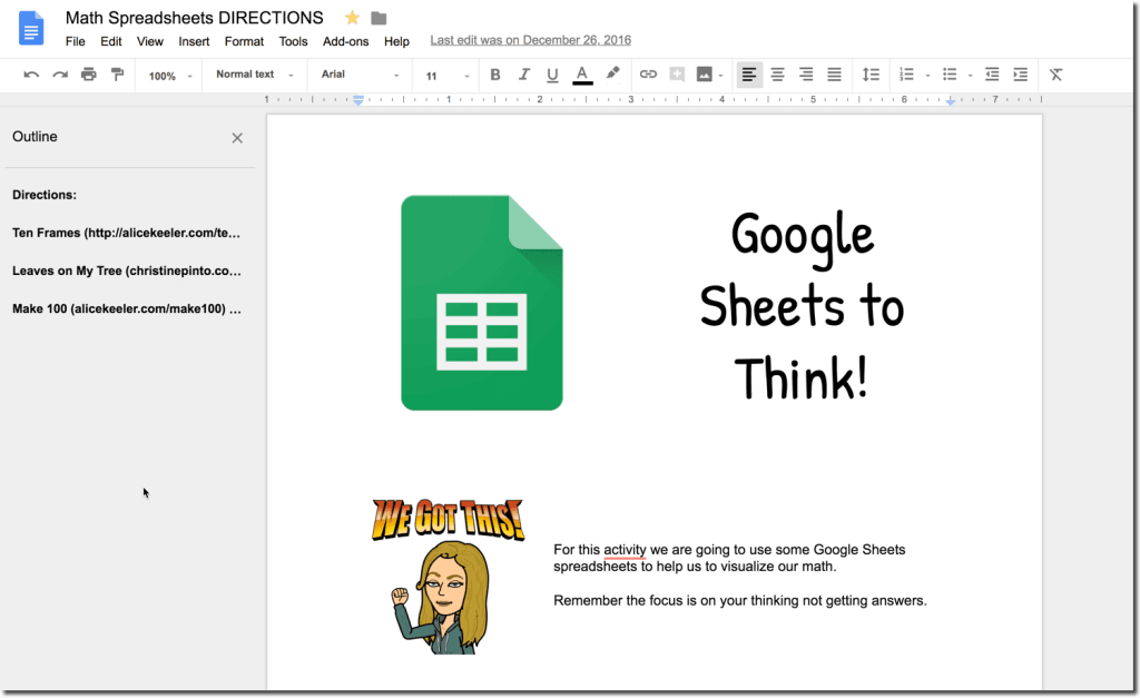 Google Doc with directions