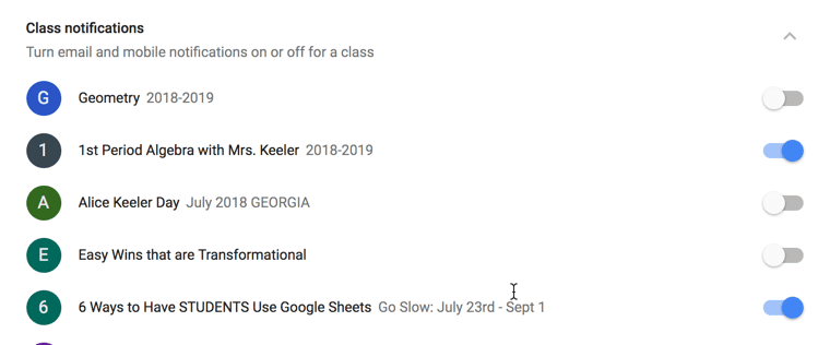 Turn off class notifications