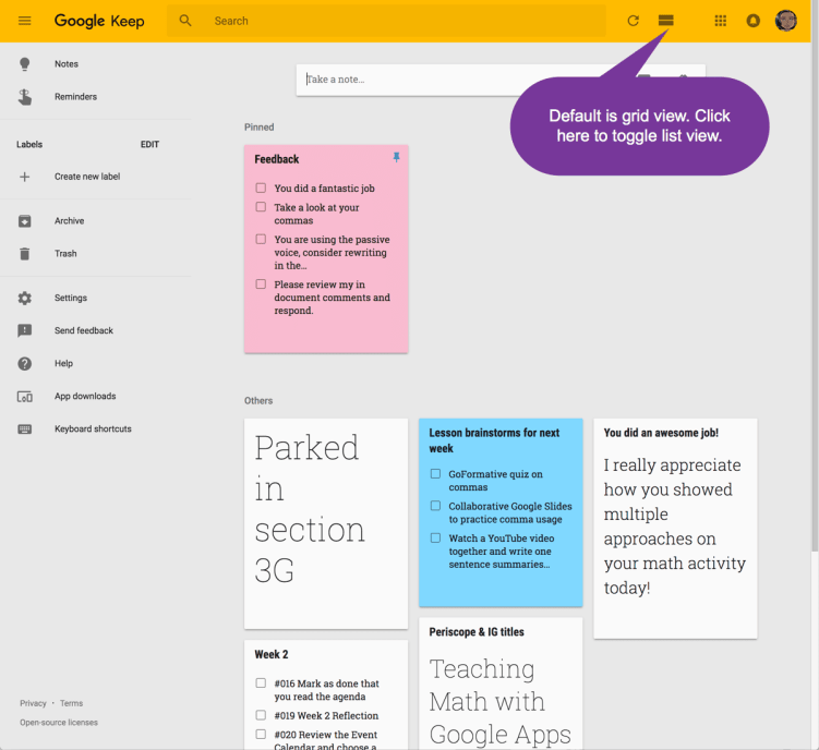 Default is grid view in Google KEep