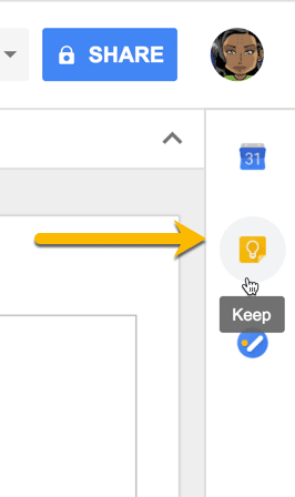 Google Keep icon in the sidebar