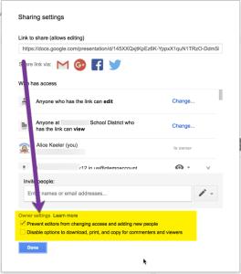 Sharing settings owner settings