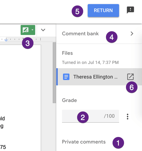 New feedback side panel in google classroom