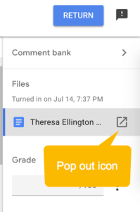 Pop out icon in Google Classroom feedback tool