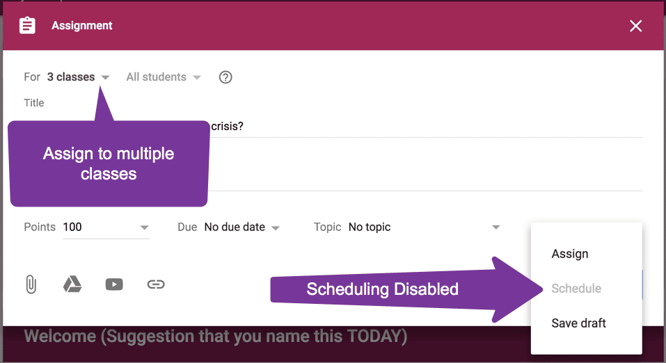 Scheduling Disabled