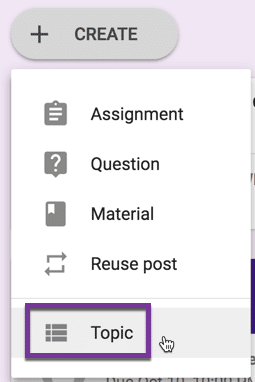 Create a topic in Google Classroom
