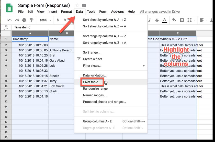 Data menu pivot table