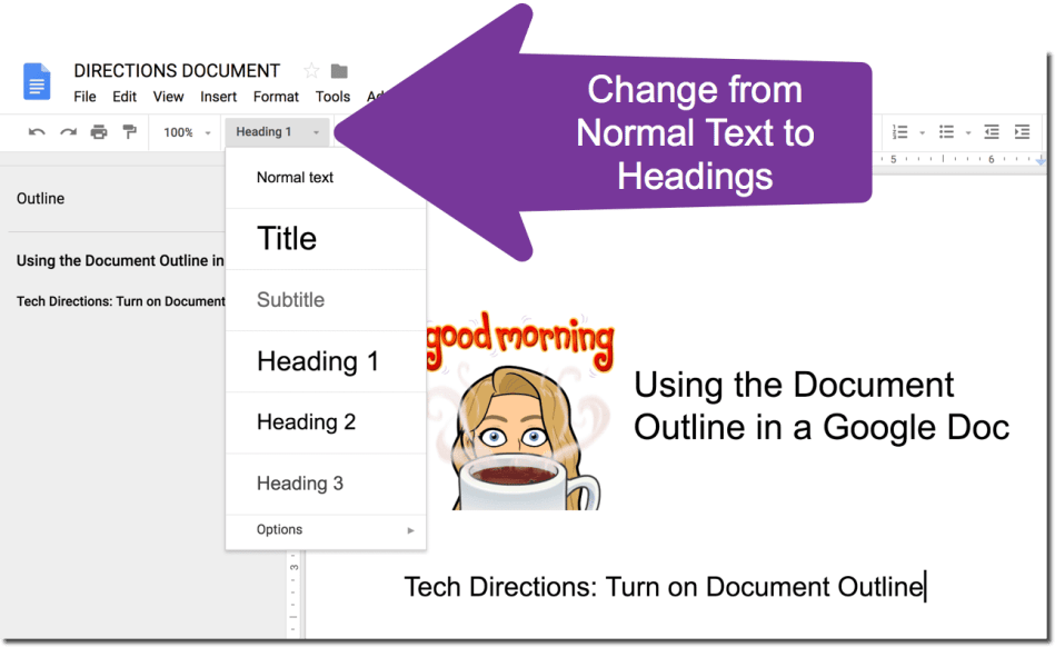 Create Headings in your Google Doc