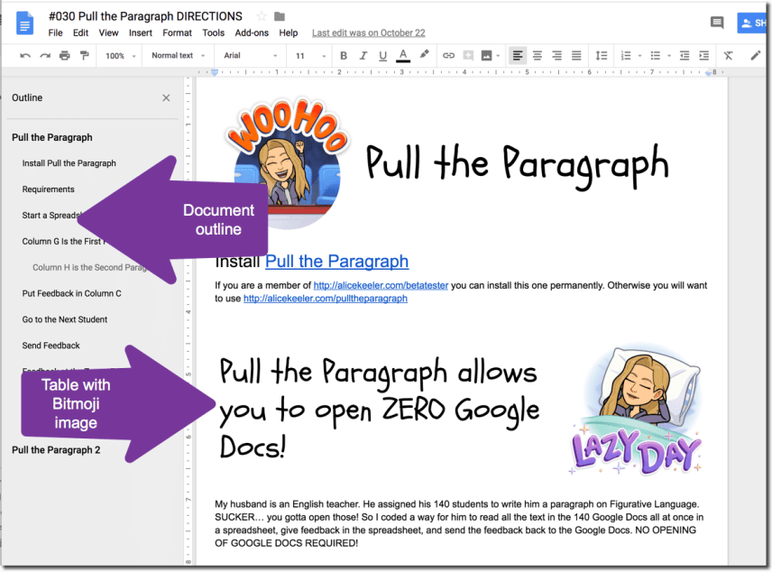 Bitmoji in my Google Doc