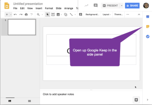 Google keep in the sidebar