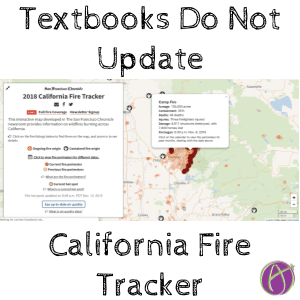 Use the california fire tracker to update the textbook