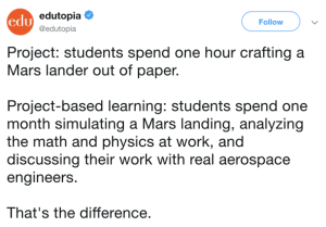 Edutopia Tweet on projects vs project based learning