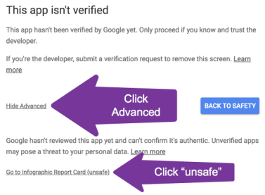 Click advanced and click unsafe
