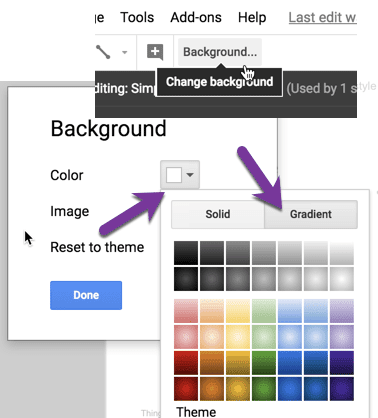 The background gradient settings