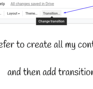Open the transitions sidebar